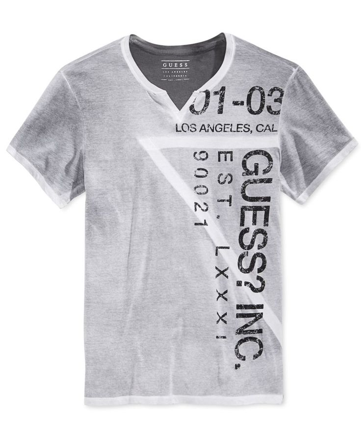 From Guess, this stylish T-shirt refreshes your casual essentials with a fashionable split neckline and a wrap-around graphic-print logo. | Cotton | Machine washable | Imported | Split neck | Short s