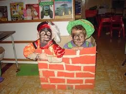 Sinterklaas, doos gebruiken als schoorsteen, beweging