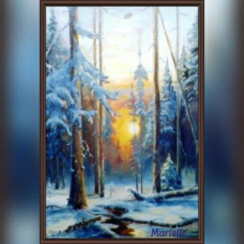 """ Winter sunset "" Oil on canvas"