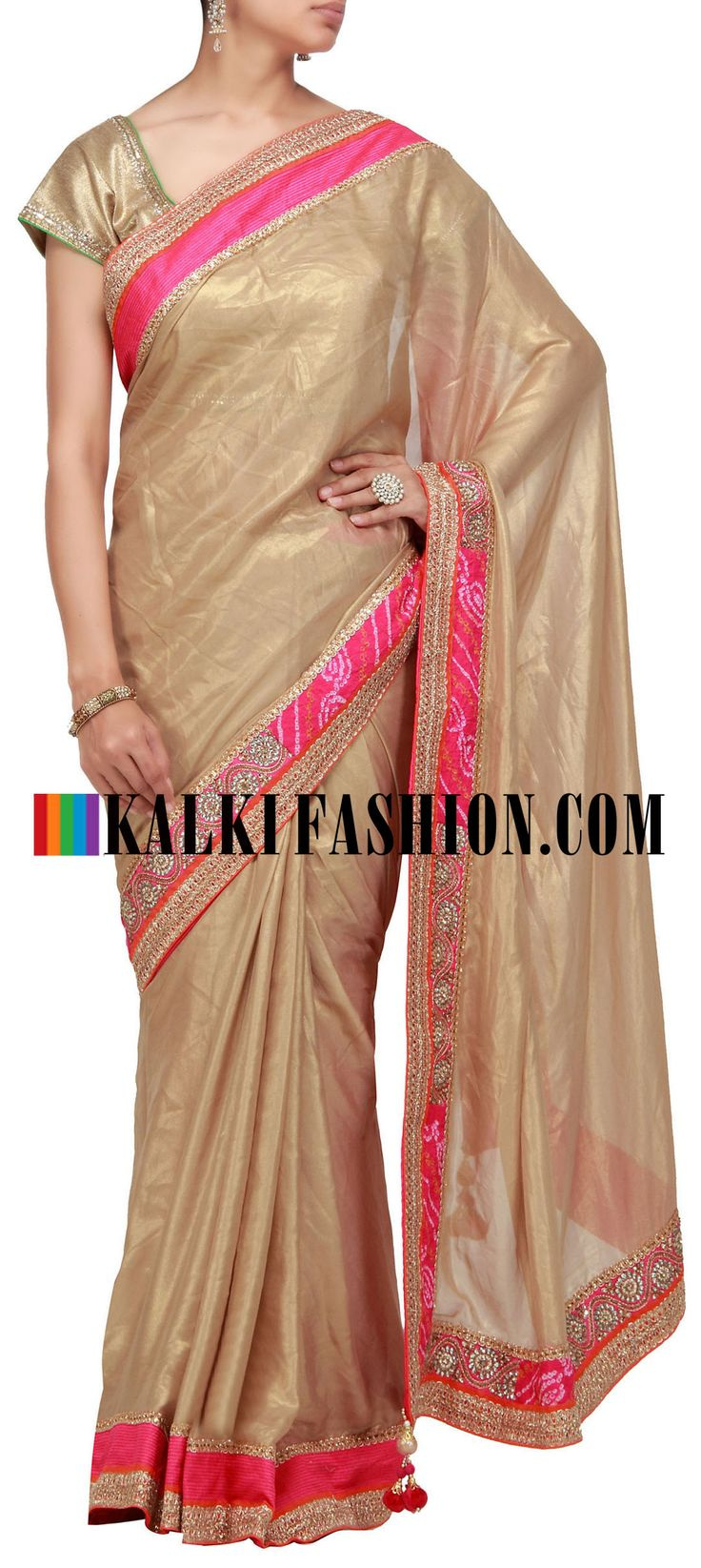 Buy it now  http://www.kalkifashion.com/dyed-saree-pink-and-grey-with-gotta-patti-work.html   Gold foil saree with kundan and bandhani border