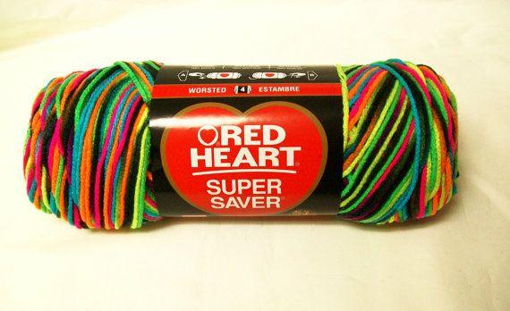 Blacklight Neon Rainbow Yarn Variegated Red Heart Super Saver 5 oz Skein Knitting Crochet Supplies Crafts