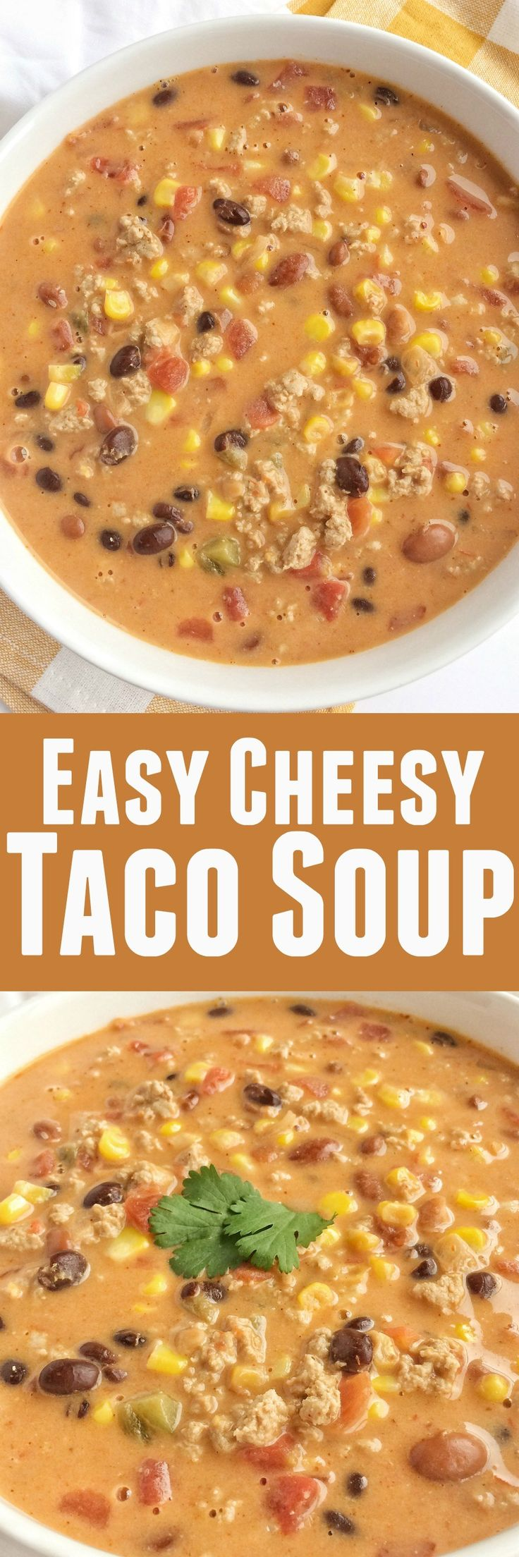 Thischeesy taco soup is so easy. Brown some ground turkey with spices, add 6 cans, and some Velveeta cheese. Super creamy, cheesy, delicious, and quick dinner!