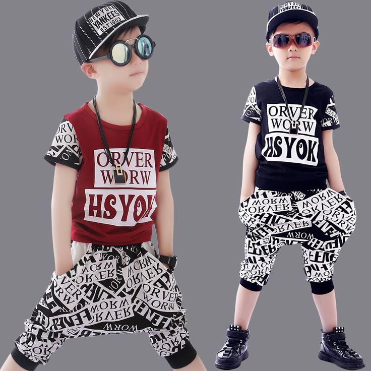 2017 Summer Boys Dancing Clothes 2 Pcs Children's Wear Hip Hop Clothing Set Wholesale Kids Short Sleeved Cotton Tracksuit A174
