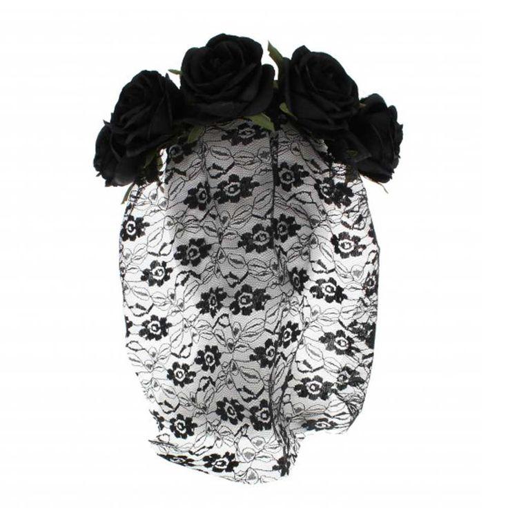 Zac's Alter Ego Black Rose haarband met kanten sluier en rozen - Hallo