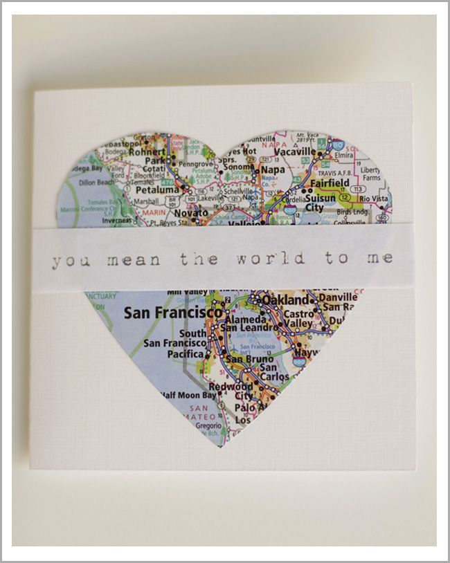 Map Valentines!  How easy and down right adorable