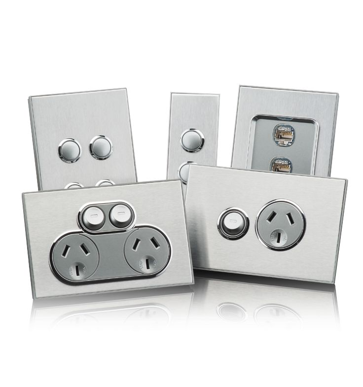 Saturn Horizon Range of metallic powerpoints and switches - Clipsal by Schneider Electric