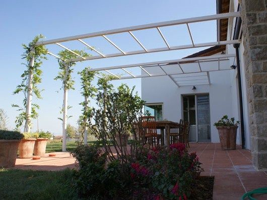 Wall-mounted steel pergola LIVING | Pergola - CAGIS