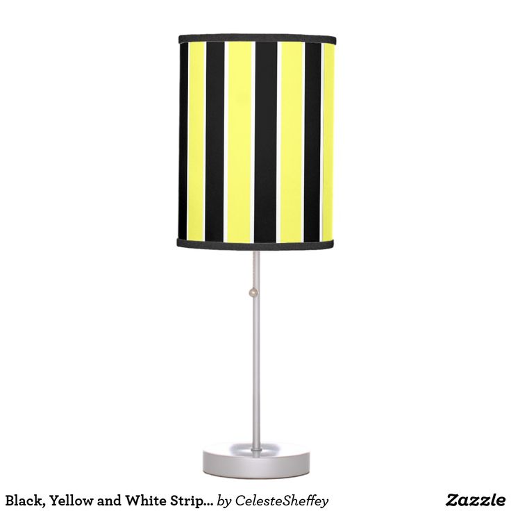Black, Yellow and White Stripes Table Lamp