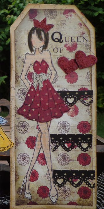 Tag with Prima Mixed Media Doll stamp Strapless Dress