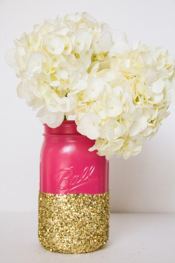 Hot Pink and Gold Glitter QUART Mason Jar by CharminglyKristin