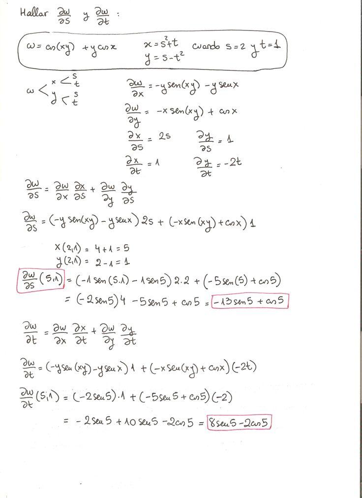 Ejercicio 5 resuelto. Tema: regla de la cadena funciones de varias variables