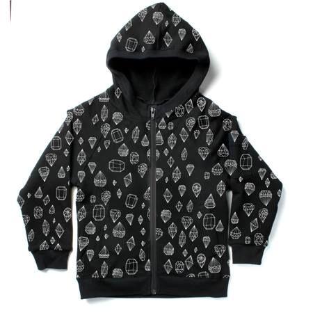 Minti Furry zip up in black/diamonds