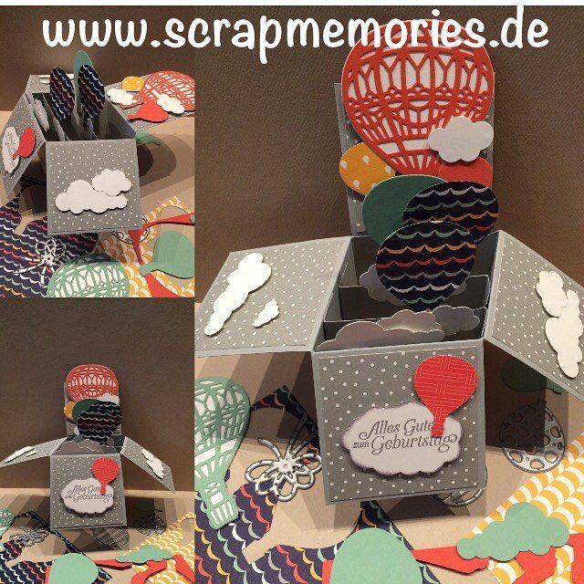Home - Scrapmemories | Basteln in Ingolstadt | Stampin up, Stampinup, Stempelset, Papier Flüsterweiss, Schiefergrau, Stempel, stanzen, Technikkarte, Glückwunschkarte, inspire, create, share, Spaß, fun, Gutscheinkarte, Band , Babykarte, , Papier Traum vom Fliegen,Thinlits Formen In den Wolken, Luftballoon, Ballonparty, Frühjahrskatalog2017, Sale-a-bration2017, Ballonparty, Geburtstag, Box, Faltkarte,