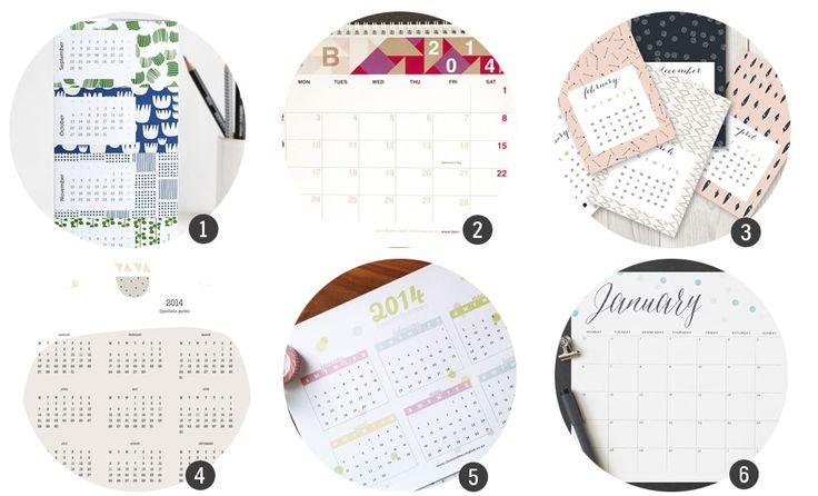 Imprimibles gratis: 18 calendarios de 2014 para imprimir