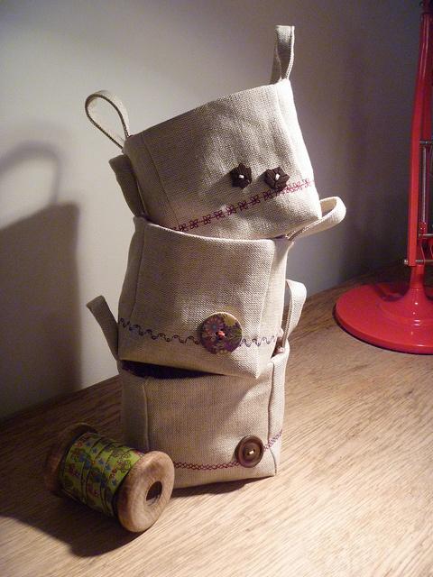"Baskets by Mrs TraumatroN, via Flickr (pattern from ""Zakka Sewing"")"