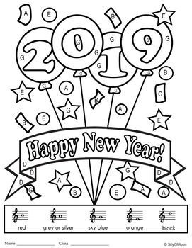New Year Music Color-by-Note Activities, Music Coloring