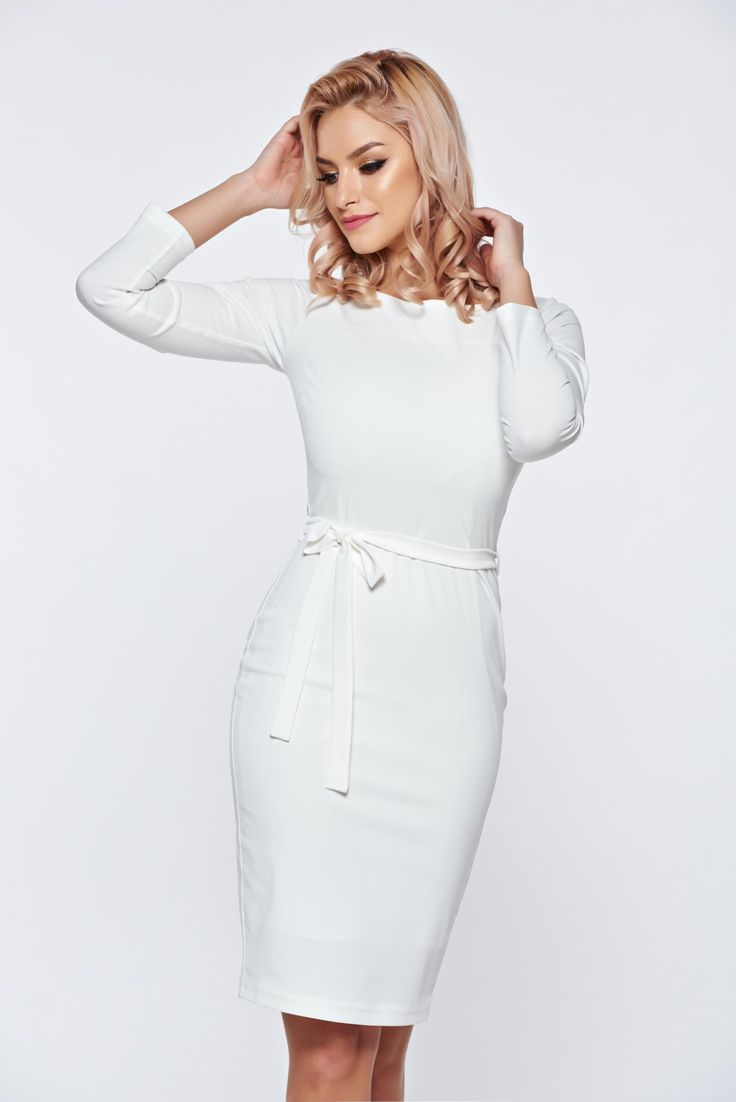 PrettyGirl casual elegant white pencil dress accessorized with tied waistband, long sleeves, accessorized with tied waistband, back zipper fastening, tented cut, elastic fabric