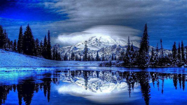 Blue Winter Night Wallpaper Winter Scenery Scenery Winter Wallpaper