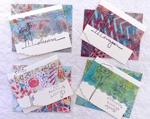 Cards and envies made with painted paper using a Gelli Plate!