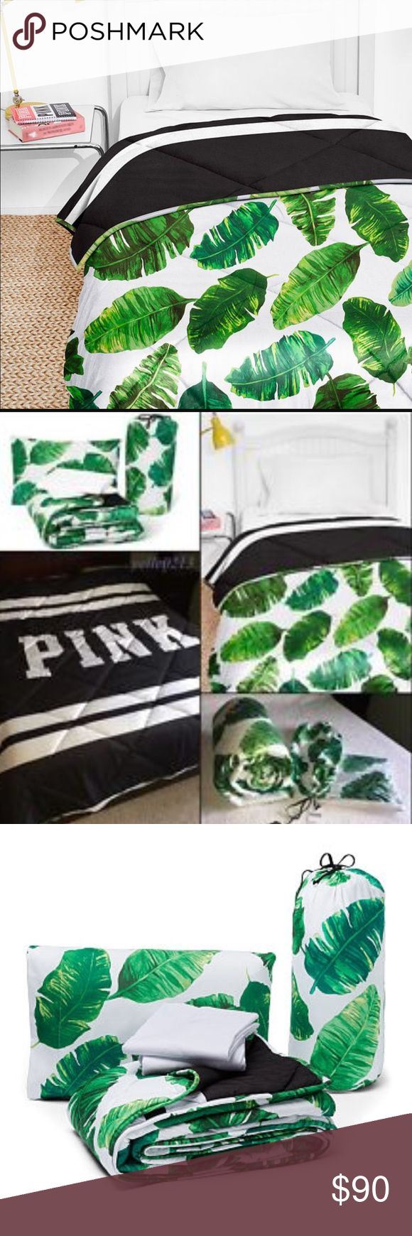 """VS PINK bed in a bag comforter set / green Product Details Move-in day made easy thanks to this all-in-one bed set. Comes with a reversible comforter, sheet set and pillow cases. In cute colors and prints to deck out your dorm room or bedroom. Only from VS PINK. Comforter, flat sheet, fitted sheet and pillow cases included in set Twin/Twin XL includes one pillowcase Twin/twin XL comforter : 64"""" x 88"""" Twin/twin XL flat: 66"""" x 100"""" Fitted: 39"""" x 75""""  tropical levels green from one side and…"""