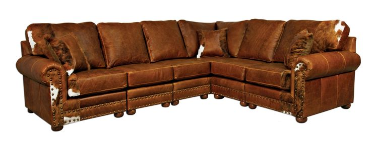 Outlaw Sectional Sofa in Weston Pecan & Hair on Hide