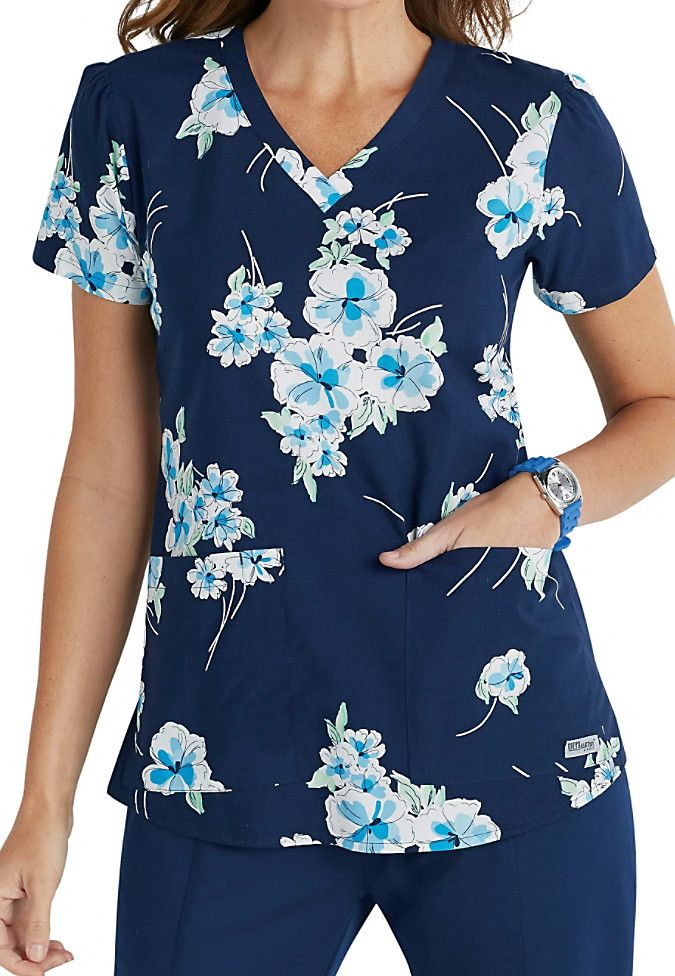 get in the mood for spring with the beautiful blueberry flower vneck scrub top