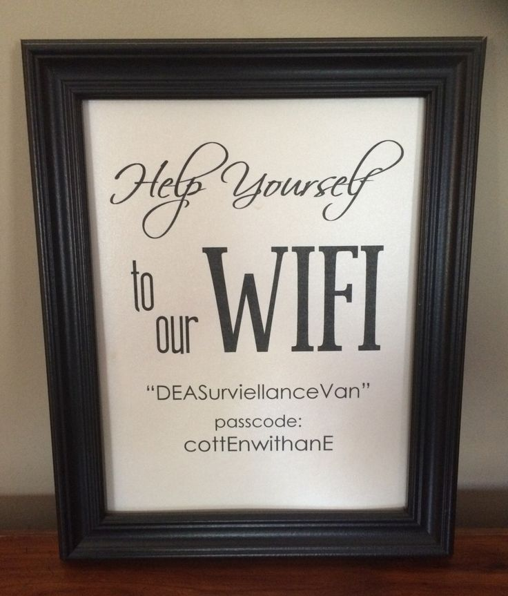 Custom Wifi Password Print for Frame by MamaCottenCrafts on Etsy https://www.etsy.com/listing/223266054/custom-wifi-password-print-for-frame