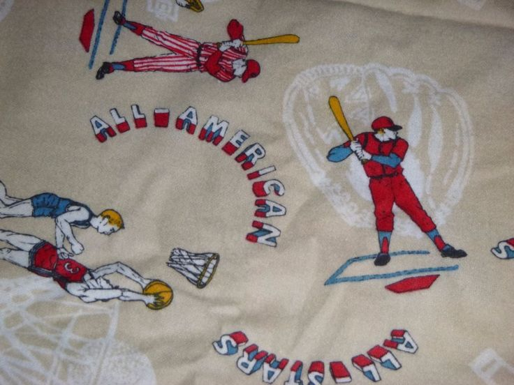 2 Pcs Vtg Cotton Flannel Fabric Novelty Print Sports Motif Baseball Hockey 36W