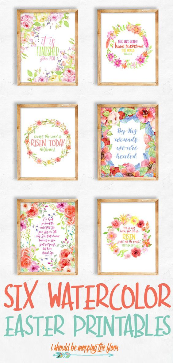 These six Watercolor Easter Printables are perfect for any spring decor. They're some of the best loved Easter scriptures and hymns put into printable form.