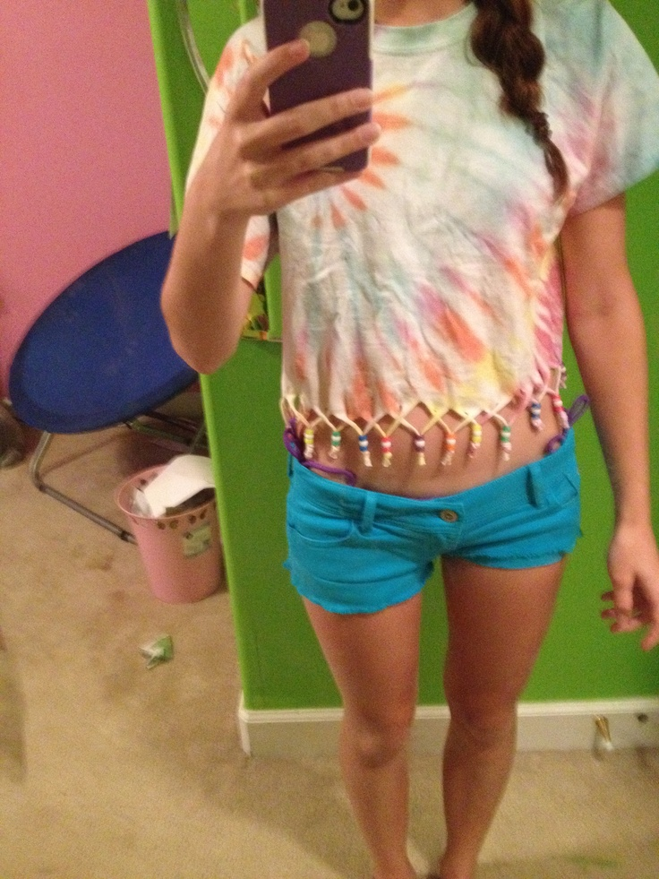 Diy tie dye crossed beaded fringe shirt diy pinterest for Making a tie dye shirt
