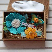 Colorful jewelry sets for little girls. #headdress #bracelet  #flowers #brooch #felt #butterfly #KashKi