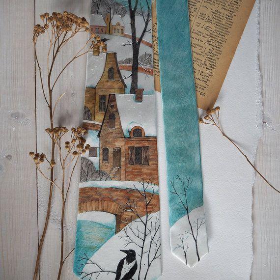 January  silk necktie. Hand painting. Art tie by ColorDotSilk
