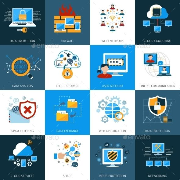 Network Security Icons Set — Vector EPS #encryption #firewall • Available here → graphicriver.net/…