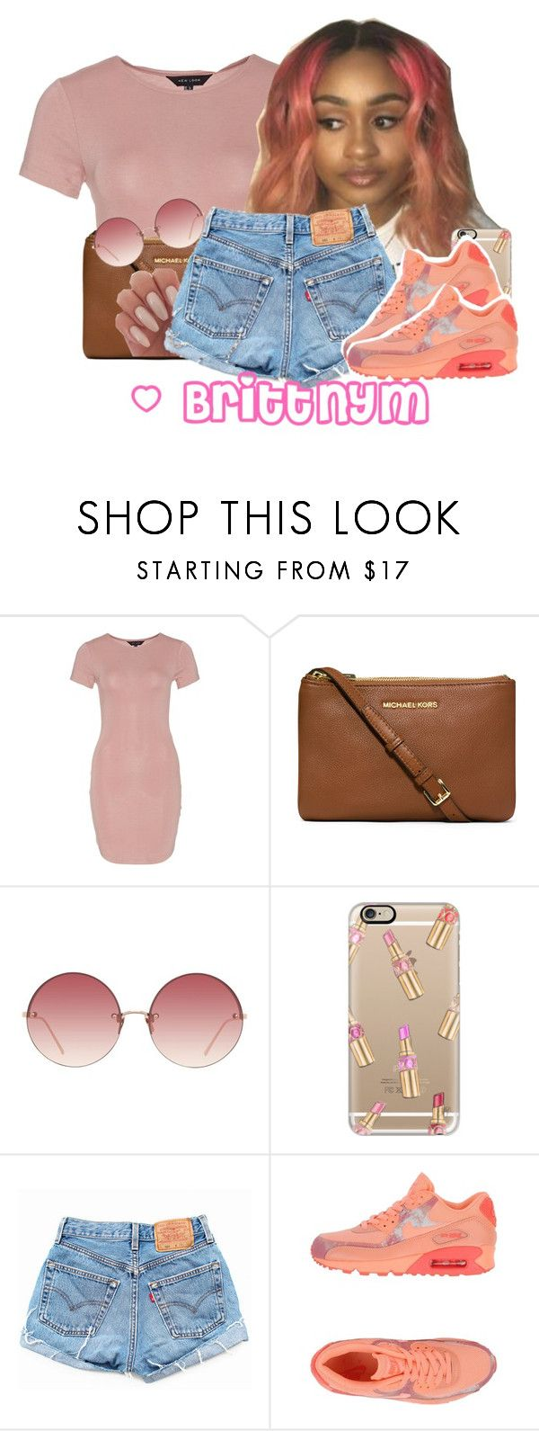 """@Brittny P!nk"" by brittnym ❤ liked on Polyvore featuring MICHAEL Michael Kors, Linda Farrow, Casetify and NIKE"