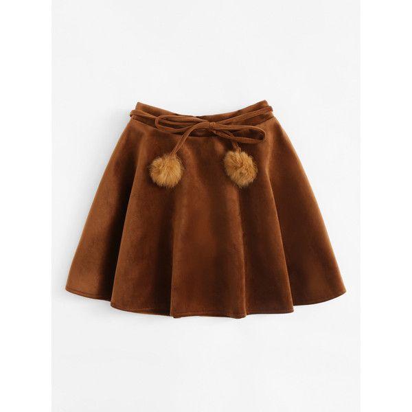 Elastic Waist Faux Fur Ball Belted Skirt ($11) ❤ liked on Polyvore featuring skirts, elastic waistband skirt, belted skirt, ball skirts, brown skirt and stretch waist skirt