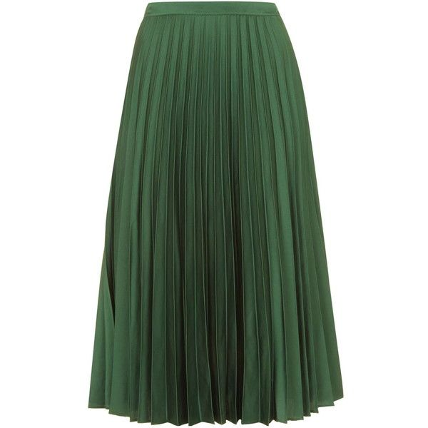 TOPSHOP Satin Pleated Midi Skirt ($83) ❤ liked on Polyvore featuring skirts, dark green, mid-calf skirt, fancy skirts, green skirt, midi skirt and zipper skirt