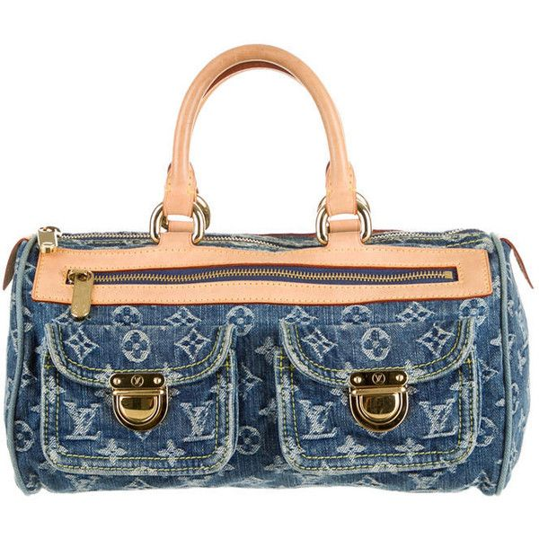 Pre-owned Louis Vuitton Denim Neo Speedy Bag ($745) ❤ liked on Polyvore featuring bags, blue, denim bags, blue bag, white bag, monogrammed bags and louis vuitton bags