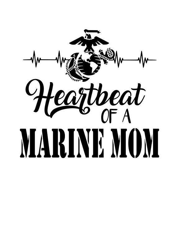 Marine Mom Heartbeat SVG File, Quote Cut File, Silhouette