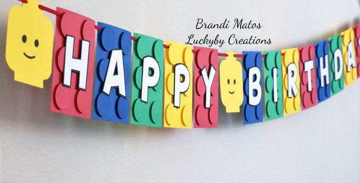 Lego Birthday Banner!  Lego Theme birthday banner, Lego Party, Lego movie, lego friends, birthday banner, party banner, boy birthday! by LUCKYBYCREATIONS on Etsy https://www.etsy.com/listing/387094810/lego-birthday-banner-lego-theme-birthday
