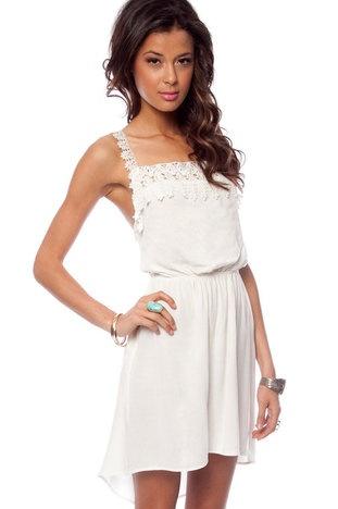 Ariel Lace Cross Back Dress in Off White