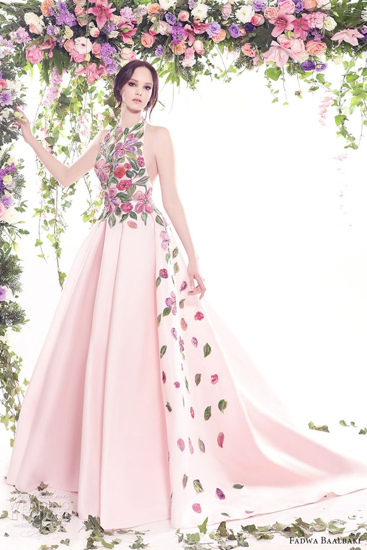 fadwa baalbaki spring 2016 couture halter neck multi color pink ball gown mv