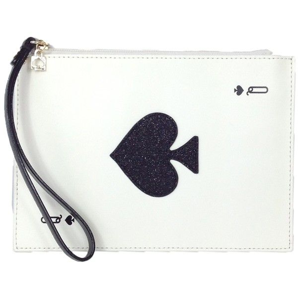 Kate Spade Taft Street Harriet Queen of Spades Card Wristlet ($68) ❤ liked on Polyvore featuring bags, handbags, clutches, kate spade purses, white wristlet, white clutches, kate spade clutches and kate spade wristlet
