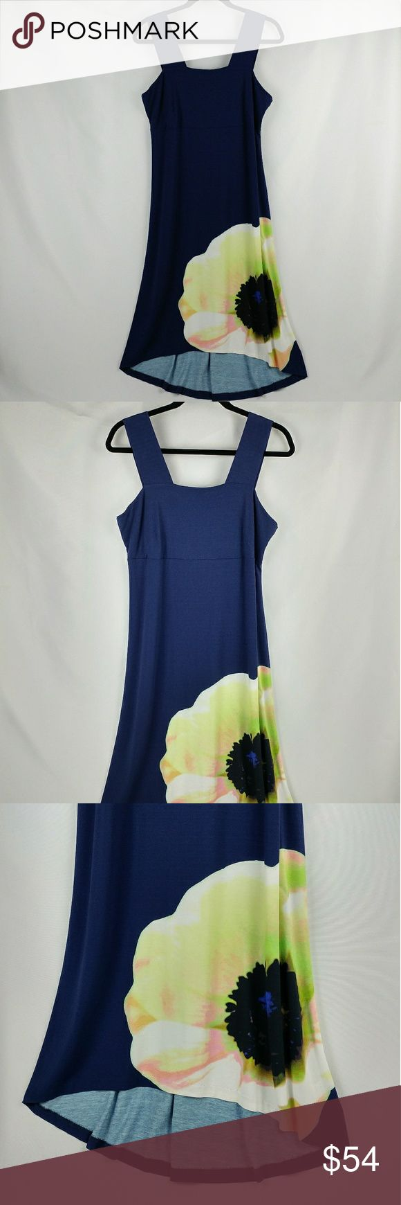 "NWT Cynthia Rowley High-low sleeveless dress Brand New With Tags Cynthia Rowley High-low sleeveless dress. Very comfortable stretchy quality material. Dark blue color with a big flower print on the bottom. 18"" armpit to armpit measuring laying flat across 42"" long in the front measuring from the sleeve 48"" long on the back side. Cynthia Rowley Dresses High Low"