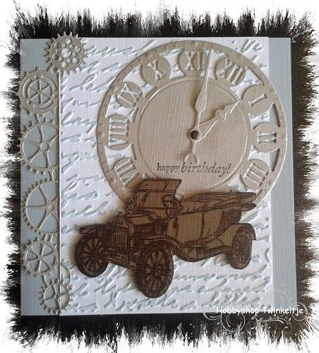 Clock, sprockets, car & script embossing folder