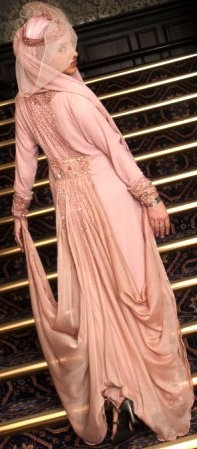 mauve-pink #Hijab Bridal Gown. (Back View)