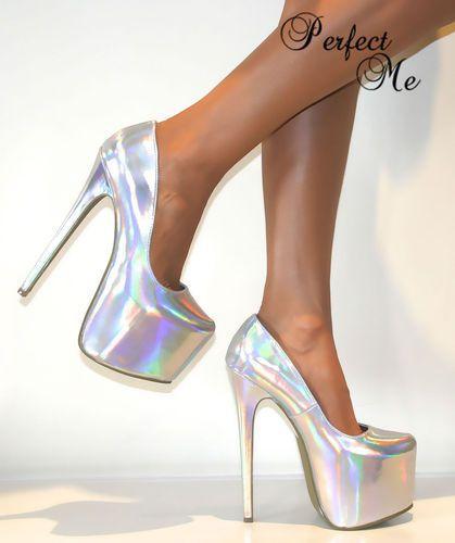 Ladies Silver Concealed Platform Court Shoe Extreme Stiletto High Heels Pumps in #Silver #Hologram from eBay (GBP £29.99). #highheelsstilettos