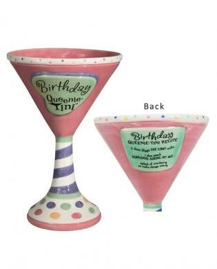 Queenie-tinis birthday - martini recipe on back The birthday girl deserves something special and different. Get her the Queenie-Tini Birthday martini glass from Laid Back. The martini glass is complete with a recipe on the back.