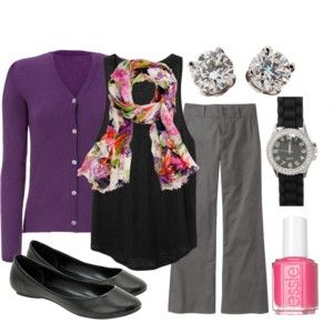 Teaching Outfits - Polyvore... love the purple cardigan!