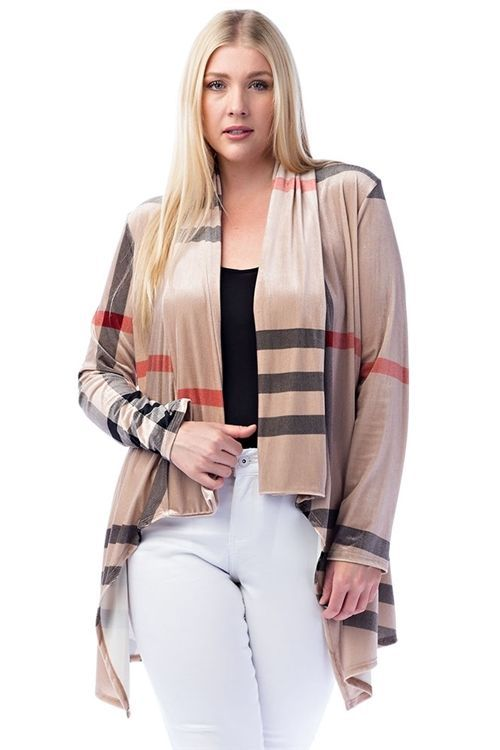 New Trendy Khaki Draped Plaid Plus Size Cardigan For Women 1XL - 2XL - 3XL  #Unbranded #KhakiDrapedPlaidPlusSizeCardigan