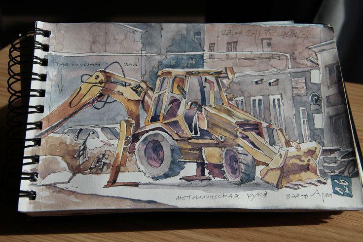 Urban sketch in Moscow. Drew Ruslan Gonchar.  https://www.facebook.com/ruslhu Photographer Lubov Stolyarova. https://www.facebook.com/profile.php?id=100001262601853&pnref=friends.search